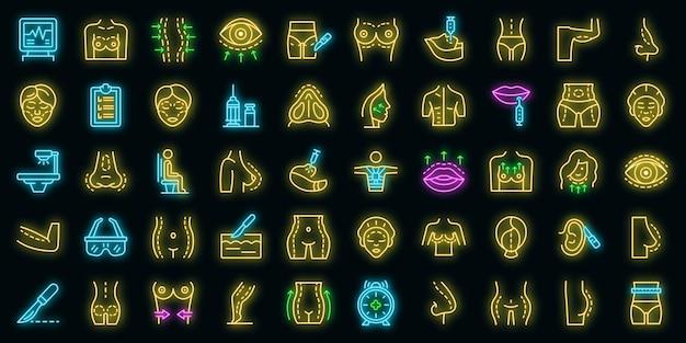 Lichaamscorrectie pictogrammen instellen. overzicht set van lichaamscorrectie vector iconen neon kleur op zwart