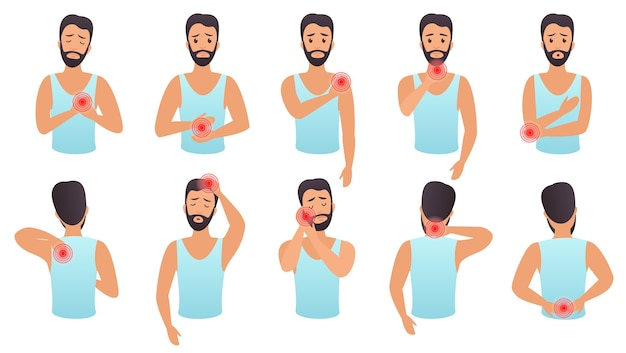 Lichaamsdelen pijn infographic set. de mens voelt pijn in verschillende delen van het lichaam plat