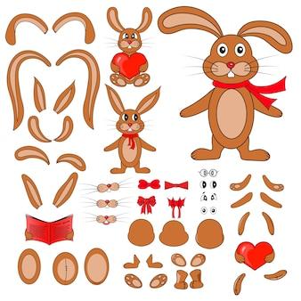 Lichaamsdelen van het konijn in vector