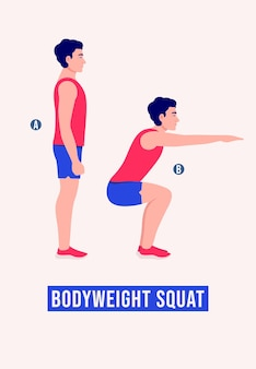 Lichaamsgewicht squat-oefening mannen workout fitness aerobics en oefeningen