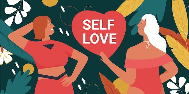 Lichaamspositieve beweging girl power en schoonheidsdiversiteit met mooie vrouwelijke vrienden
