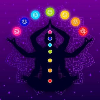 Lichaamssilhouet met kleurrijke chakra's en armen