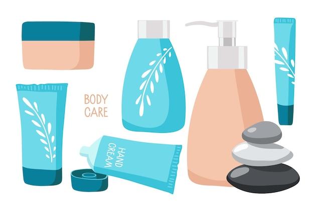 Lichaamsverzorging cosmetica beauty set spa en natuurlijke cosmetische elementen cartoon vectorillustratie