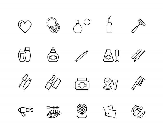 Lichaamsverzorging pictogrammen. set van twintig lijn pictogrammen. lippenstift, poeder, kussen.