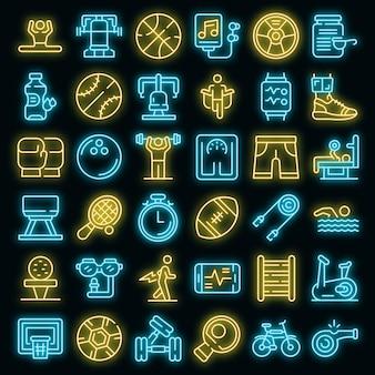 Lichamelijke activiteit pictogrammen instellen vector neon
