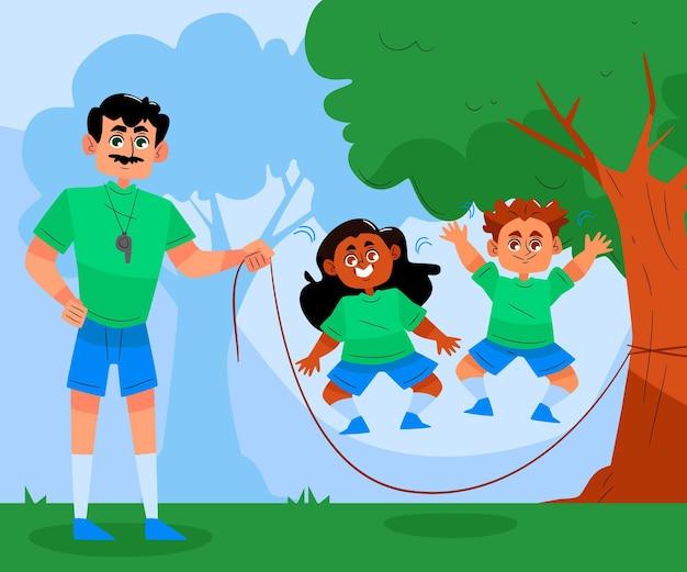 Lichamelijke opvoeding dag illustratie