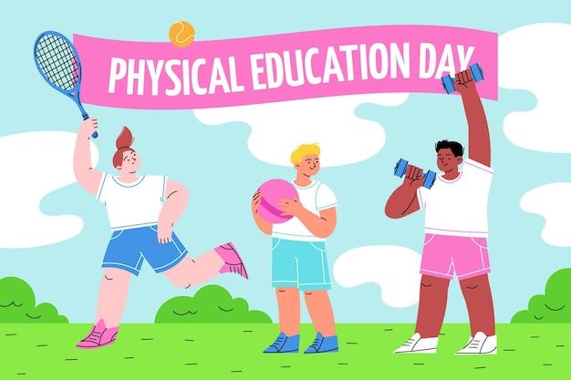Lichamelijke opvoeding dag illustratie Premium Vector