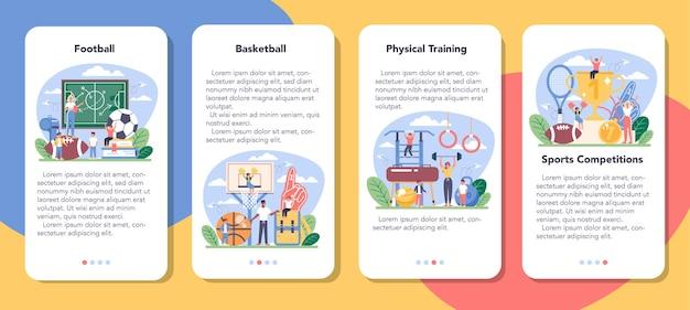 Lichamelijke opvoeding of school sport klasse mobiele applicatie banner set