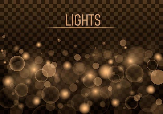 Licht abstract gloeiend bokehlichteffect feestelijke paarse en gouden lichtgevende achtergrond