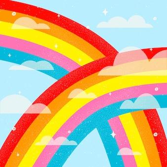 Licht alles is ok handgetekende regenboog