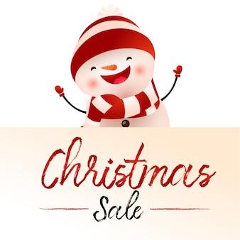 Licht beige afficheontwerp van de kerstmisverkoop met beeldverhaalsneeuwman
