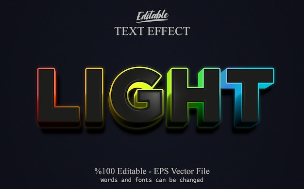 Licht bewerkbaar teksteffect vector eps