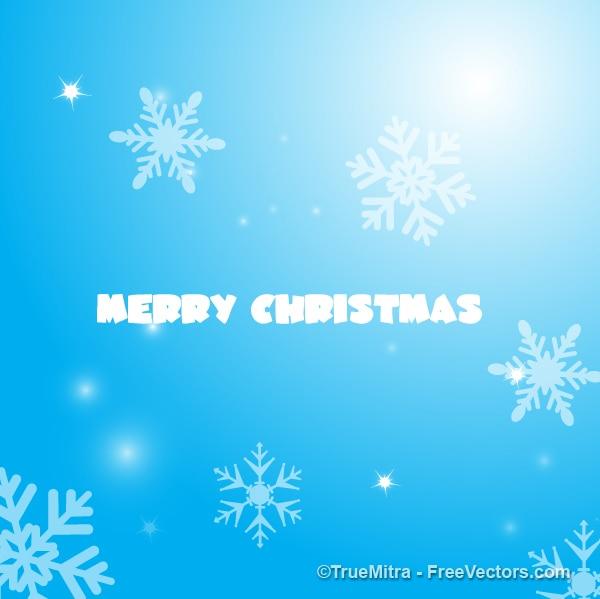 Licht blauwe hemel met sneeuwvlokken en glitter