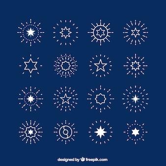 Licht blauwe sterren en sunbursts
