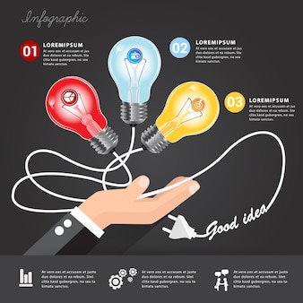 Licht blub energie goed idee met bedrijfsconcept.
