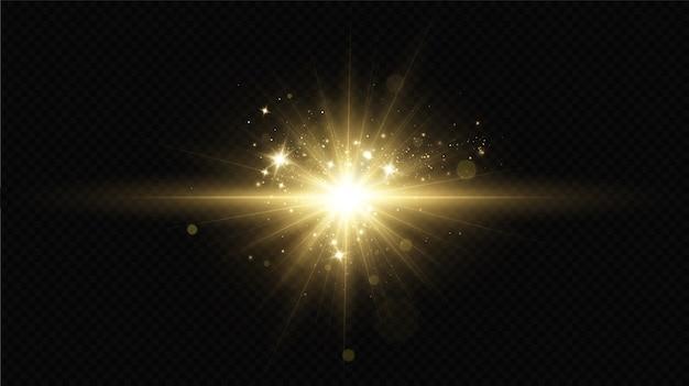 Licht effect. heldere ster. licht explodeert op een transparante achtergrond. felle zon.