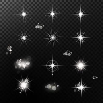 Licht effect. heldere sterren. gloeiende lichten.