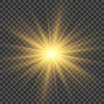 Licht helder flitseffect heldere gloedillustratie voor perfect effect met fonkelend steruitbarsting zonlicht