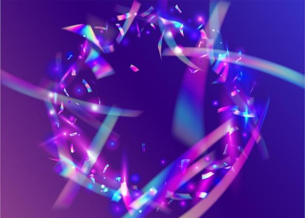 Licht klatergoud. glamour kunst. blauw lasereffect. vliegende folie. holografische glitter. caleidoscoop confetti. glanzend ontwerp. retro kerstmiszonlicht. paars licht klatergoud
