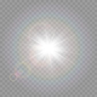 Licht met verblinding. zon, zonnestralen, dageraad