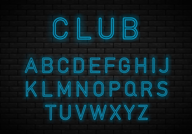 Licht neon lettertype alfabet