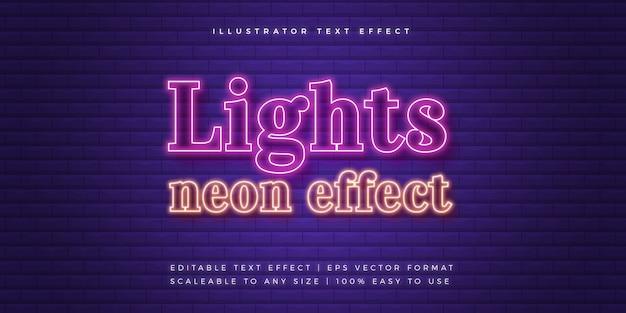 Licht neon tekststijl lettertype-effect