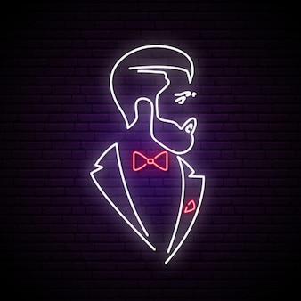 Licht neon uithangbord met elegante heer