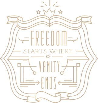 Licht ontwerp met citaat in lineaire stijl met vrijheid begint waar eindigt beschrijving toevoegen