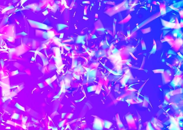 Licht schittering. heldere folie. disco-uitbarsting. feestelijke kunst. roze laserglitter. vallend effect. iriserende achtergrond. partij veelkleurig behang. blauw licht schittering
