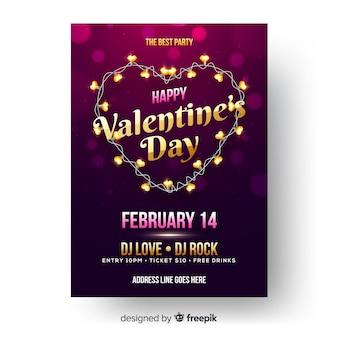 Licht slinger valentijn partij poster sjabloon