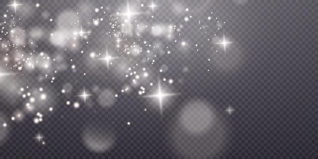 Licht sprankelend stof met witte fonkelende sterren op een transparante achtergrond