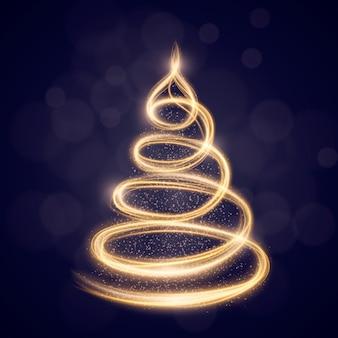 Licht trail kerstboom concept