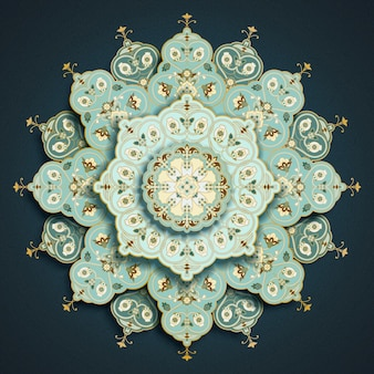 Licht turkoois arabesque mandala bloemmotief op donkerblauw