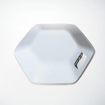 Licht usb-hub apparaat concept zeshoekige structuur en verschillende poorten op wit geïsoleerd