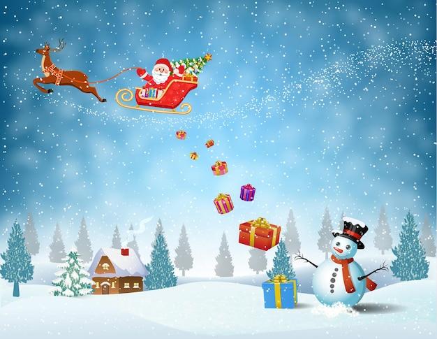 Licht vliegtuig met de kerstman
