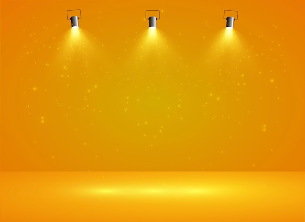 Lichtbak met gele achtergrond met drie schijnwerpers