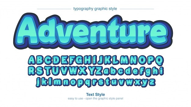 Lichtblauw chrome cartoonish sans serif teksteffect