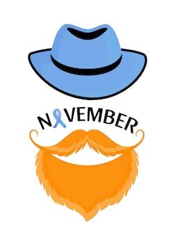 Lichtblauw lint als symbool van het bewustzijn van prostaatkanker. bebaarde man met een snor in een hoed.