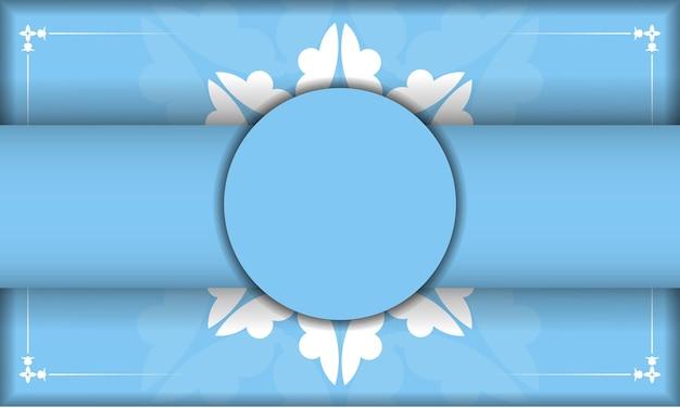 Lichtblauw sjabloon voor spandoek met vintage wit patroon en plaats onder uw tekst