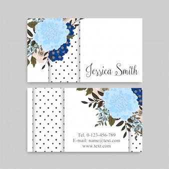 Lichtblauw visitekaartjes bloem sjabloon