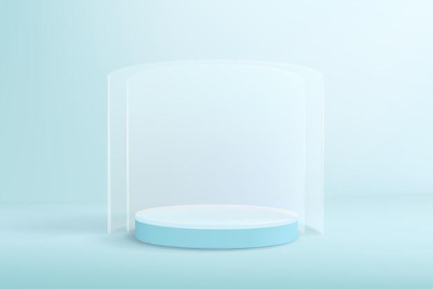 Lichtblauwe achtergrond in minimalistische stijl met leeg podium en glazen wanden