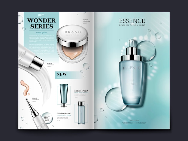 Lichtblauwe cosmetische brochure met spiraalvormige structuur en waterdruppels, kan ook worden gebruikt op catalogi of tijdschriften