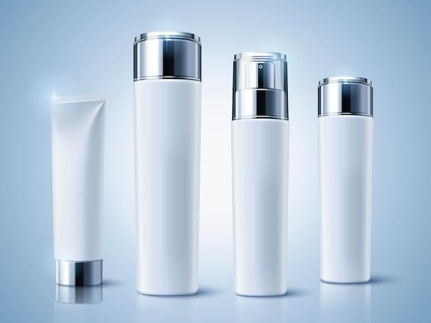 Lichtblauwe cosmetische containers, mockup-set voor lege flessen
