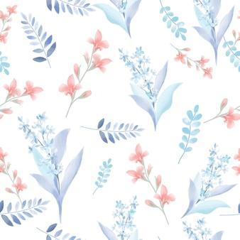 Lichtblauwe en oranjebloesem met blad naadloos patroon.
