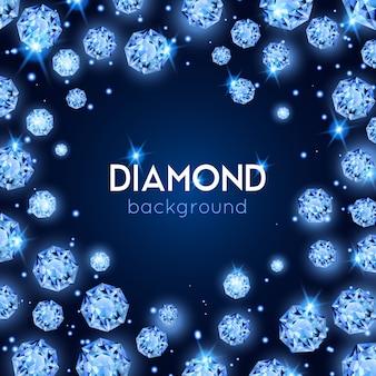 Lichtblauwe kleur gem diamant achtergrond met placer van diamanten in een cirkel