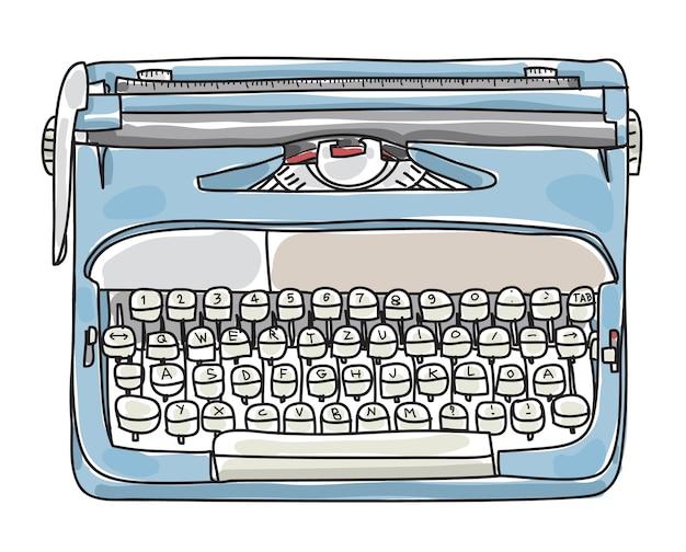 Lichtblauwe schrijfmachine hand getrokken vectorillustratie