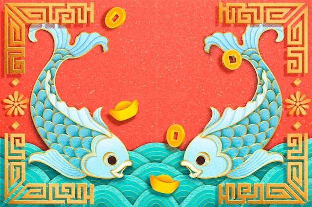 Lichtblauwe vis en goudstaafelementen in papierkunststijl
