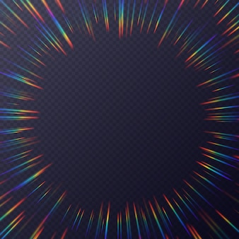 Lichtbrekingen frame, achtergrond met regenboog zonlicht effect, holografische stralen met transparantie. wazig overlay textuur geïsoleerd op een transparante achtergrond.