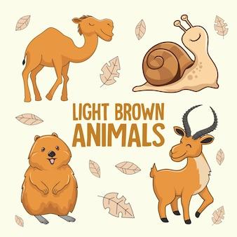 Lichtbruine dieren cartoon kameel slak quokka impala