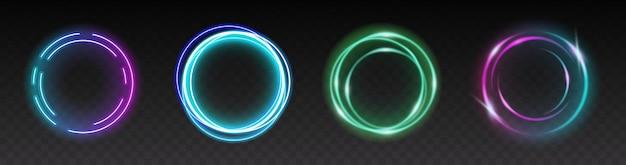 Lichtcirkels van flitsen op transparante achtergrond. set ronde vonken of cirkelvormig gloeien met verblindend effect voor webdesign. 3d vectorillustratie